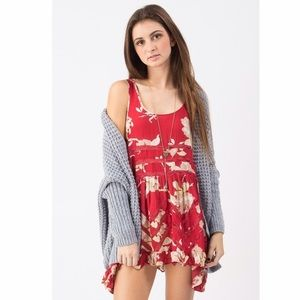 Free People Red Floral Trapeze Slip Dress